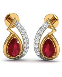 Diamoire Jewels - Pear Shape African Ruby And Diamond Pave Earrings In 10kt Yellow Gold - Lyst