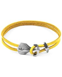 Anchor & Crew - Yellow Delta Anchor Silver & Flat Leather Bracelet - Lyst