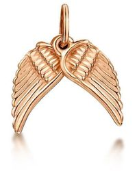 Becky Rowe Rose Gold Angel Wings Small Pendant Charm | - Metallic