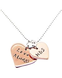 Hilary&June - Personalised Double Love Heart Necklace, Rose 9kt Gold - Lyst