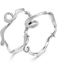 Fei Liu - Rhodium Plated Serenity Small Hoop Earrings - Lyst