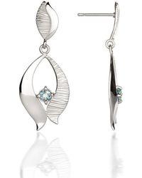 Fiona Kerr Jewellery Silver Drop Earrings With Blue Topaz - Metallic