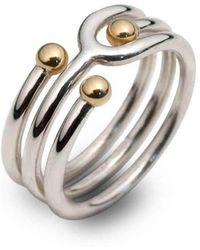Jeremy Heber Jewellery - Silver & 9kt Yellow Gold Bead Coil Ring - Lyst