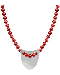 Allumer Made In Britain Necklace - Sterling Silver Bowed Shield - Metallic