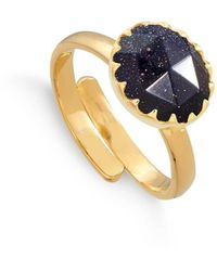 SVP Jewellery 18kt Yellow Gold Plated Silver Sunday Girl Blue Sunstone Adjustable Ring