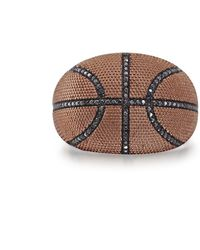LuvMyJewelry Slam Dunk Basketball Black Diamond R - Metallic