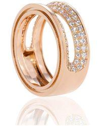 Xavier Civera Rose Gold Double Band Diamond Ring - Multicolour