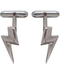 Edge Only - Sterling Silver 3d Flat Top Lightning Bolt Cufflinks - Lyst