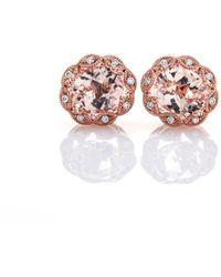 Brian Gavin Diamonds - Rose Gold & Oval Cut Morganite Stud Earrings With Diamonds - Lyst