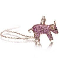 Pinomanna - Rose Gold & Pink Sapphire Pet Jewels Collection Pig Necklace | - Lyst
