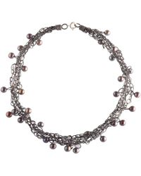 Jewellery Design Marie-Benedicte - Intertwined Oxidised Silver Necklace With Pearls - Lyst