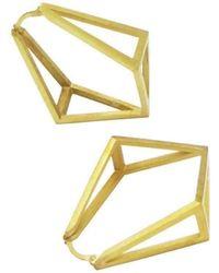 Stephanie Bates Inverted Kite Hoop Earrings - Yellow