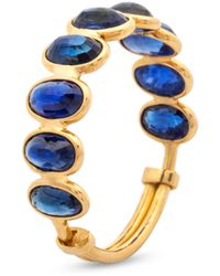 Trésor Gemstone Faceted Oval Stackable Ring Band In 18k Yellow Gold - Blue