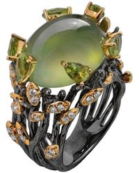 Chekotin Jewellery Gold & Prehnite Green Eden Ring   - Multicolour