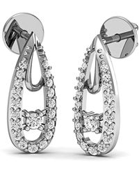 Diamoire Jewels Diamond Pave Earrings in fine polished 10kt White Gold US5VYTk