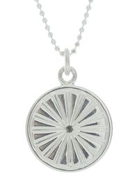 Mantra Jewellery Sterling Silver Sun's Rays Disc Necklace - Metallic