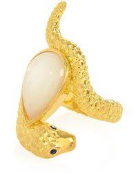 Alexandra Alberta - Yellow Gold Plated Arizona Ring With Pearl - Lyst