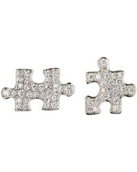 Akillis Puzzle White Gold With Diamonds Clip Earrings - Metallic