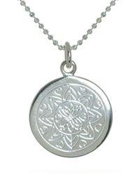 Mantra Jewellery Sterling Silver Love Mandala Disc Necklace - Metallic