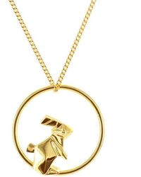 Origami Jewellery Sterling Silver & Gold Plate Rabbit Circle Origami Necklace - Metallic