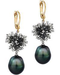 Chekotin Jewellery - Gold, Diamond & Pearl Coral Reef Eden Earrings | - Lyst