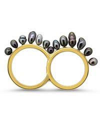 Lesunja Fine Jewellery 18kt Yellow Gold & Tahiti Pearls Jet Set St. Tropez Ring - Metallic
