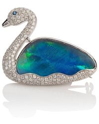 Mara Hotung 18kt White Gold Opal & Diamond Swan Brooch - Blue