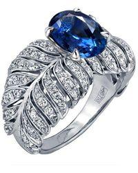 Chekotin Jewellery White Gold, Diamond & Sapphire Angel Ring | - Multicolour
