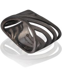 Cristina Cipolli Jewellery Black Rhodium Plated Cut-out Sharch Ring