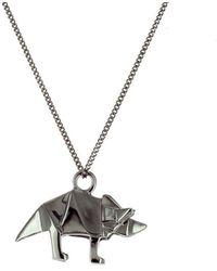 Origami Jewellery - Black Silver Mini Triceratop Origami Necklace - Lyst