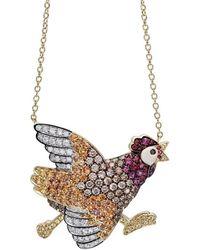 Pinomanna - Gold & Sapphire Natural Chic Running Chicken Necklace | - Lyst