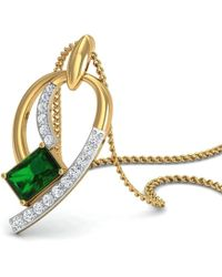 Diamoire Jewels Emerald Cut Emerald Pendant with Premium Diamonds in 18kt Yellow Gold 0XDSW8KrZi