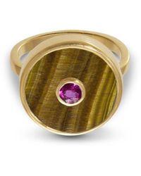 Liz Phillips Europa Ruby And Tiger's Eye Ring - Metallic