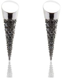 Xavier Civera White Gold And Black Diamond Earrings