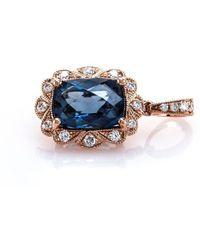 Brian Gavin Diamonds - Rose Gold & Cushion Cut London Blue Topaz Halo Pendant - Lyst