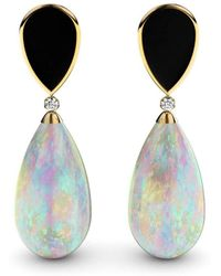 MARCELLO RICCIO - Rose Gold Plated Silver, Crystal Opal & Diamonds Earrings - Lyst