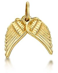 Becky Rowe Yellow Gold Angel Wings Small Pendant Charm | - Metallic