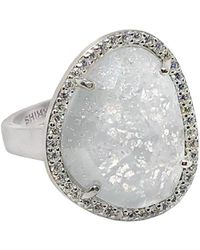 Shimmer by Cindy - Rhodium Plated Abstract Halo Cocktail Ring With White Cz Stone - Lyst