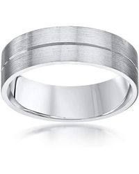 Star wedding rings Palladium Flat Court Shape Matt With Polished
