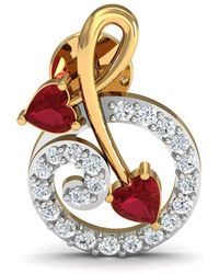 Diamoire Jewels - Heart Shaped Ruby And Diamonds Pave 14kt Yellow Gold Earrings - Lyst