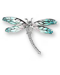 Nicole Barr Silver Dragonfly Turquoise Brooch - Blue