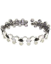 Cosanuova - Rhodium Plated Sterling Silver Honeycomb Bee Bracelet - Lyst