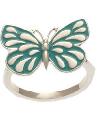 Soul2Seven Rhodium Plated Turquoise Butterfly Ring - Multicolour