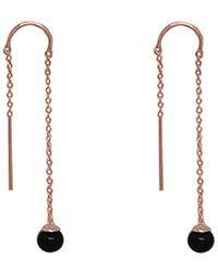 Murkani Jewellery Rose Gold & Black Pearl Riviera Thread Earrings - Metallic