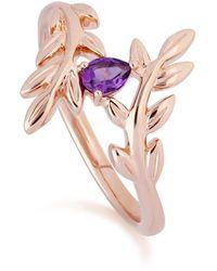 Gemondo Jewellery Gemondo O Leaf Amethyst Olive Branch Ring In Rose Gold - Pink