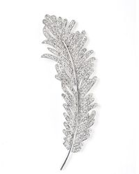CZ by Kenneth Jay Lane Round Cz Feather Brooch - Multicolor