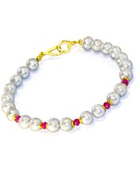 Regenz Gold Plated Silver Grey Pearl & Natural Ruby Bracelet - Metallic