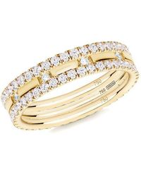 Verifine London 18kt Yellow Gold Diamond Xx 3-ring Combination - Uk J - Us 4.75 - Eu 48.7 - Metallic