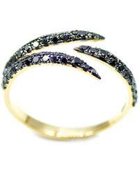ERAYA 18kt Yellow Gold Black Diamond Claw Ring - Metallic