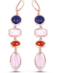 Olivia Leone 14kt Rose Gold Plated Silver Glittering Multi-colour Dangle Earrings - Multicolor